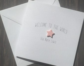 New Baby Girl Personalised Card Welcome To The World