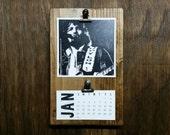2016 Waylon Desktop Clipboard Calendar on rustic wood stand