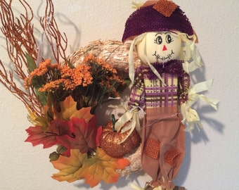 Fall  Wreath, 10 in straw with fall foliage and adorable scarecrow