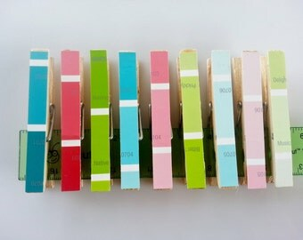 Set of 9 - Paint Swatch Clothes Pins