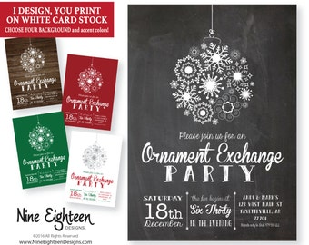 Ornament Exchange Party Invitation. Customized PDF/JPG. I design, you print.