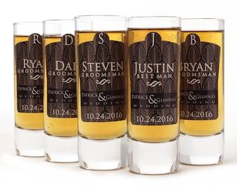 4, Groomsmen Shot Glasses, Art Deco Design, Personalized Shot Glass