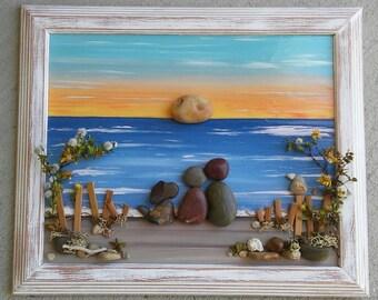 "Pebble Art, Rock Art, Pebble Art Couple, Rock Art Couple, with dog at the ocean, beach, dog lovers, ""open"" 8.5x11 frame (FREE SHIPPING)"