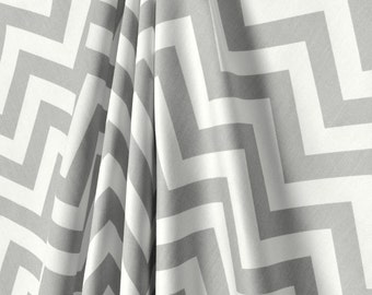 one pair of gray chevron curtains