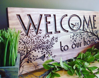 Carved Wooden Welcome Sign Nature inspired bird and tree branch design Fathers Day Gift Idea  for nature bird lover Realtor Gift ideas