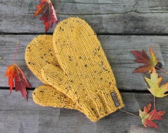 Mustard Yellow Fleece Lined Tweed Knit Mittens