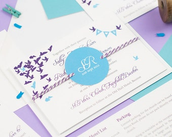 SAMPLE - Wedding stationery with flying doves and personalised initial bunting