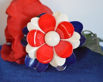 Vintage Enamel Red White and Blue Flower Brooch Pin ships 24 Hrs