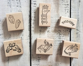 Full line of Bird in the Hand Rubber Stamp collaboration, motivational, design, stamping, cards, packaging, wrapping paper, pattern