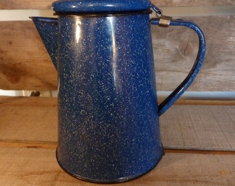Vintage Blue Granite Ware Tea Pot. Blue with White Speckles