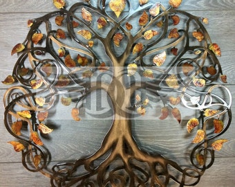 Autumn Leaf Sparkle Tree of Life Infinity Tree Wall Decor  Wall Art