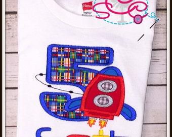 Personalized Rocket Birthday Shirt