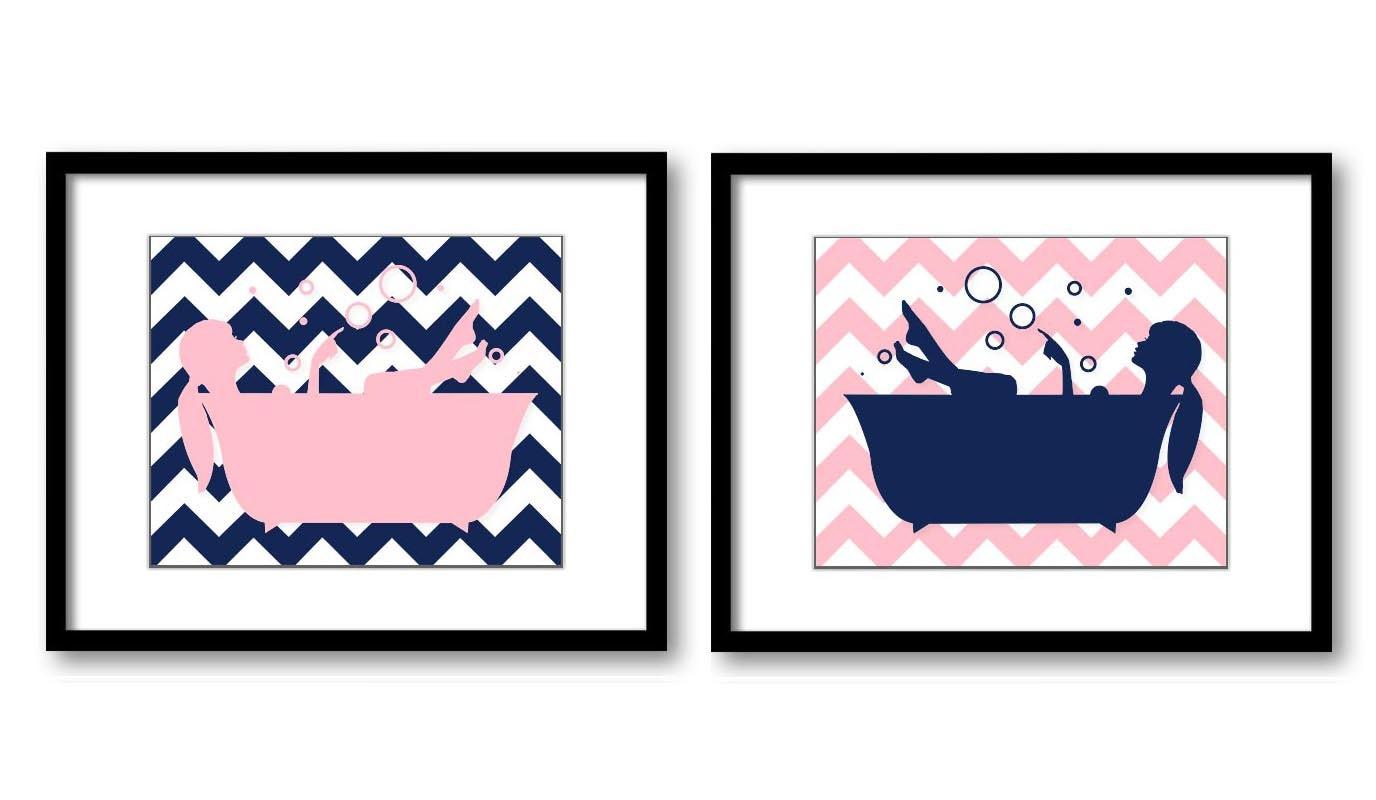 Pink Navy Blue Bathroom Decor Bathroom Wall Art Print Girls In