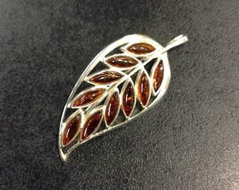 Silver amber leaf pendant or brooch