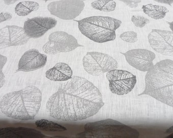 Long tablecloth 54 x 104. Grey leaves white linen table cloth. Natural linen fabric. Scandinavian tablecloth