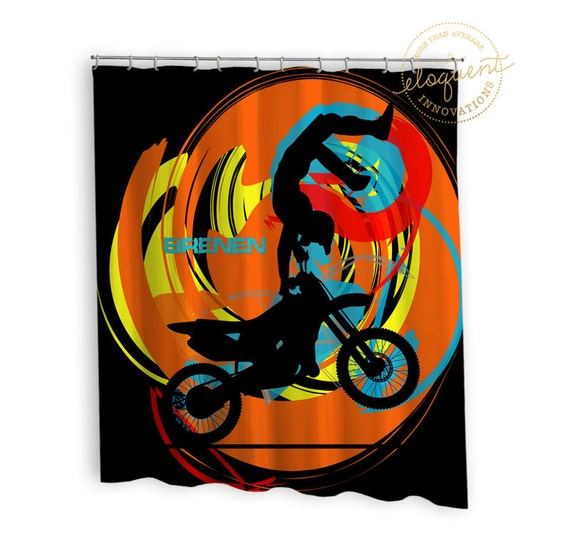 Motocross Shower Curtain Orange Black Teal Red Yellow