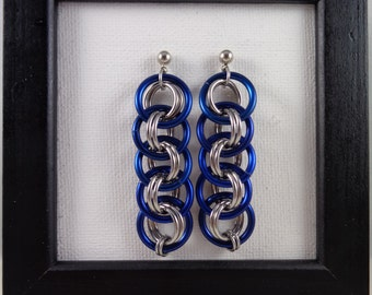 Blue Viper Basket Chainmail Earrings; Sapphire Chain Mail Earrings; Navy Chainmaille Earrings; Chain Maille Earrings; Chainmail Earrings