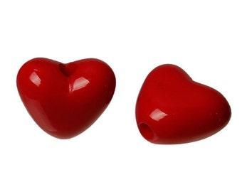 50 - Acrylic Red Heart Charm Bead