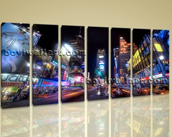 "Xxl Large Wall Art Print Canvas New York Time Square  Home Decor Contemporary, new york canvas art,  canvas print, 76""x36"""