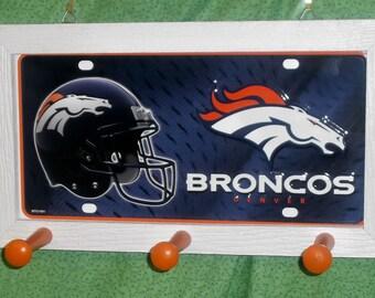 Denver Broncos License Plate Peg Hanger