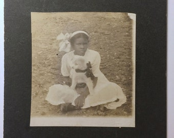 Vintage Photo - Cabinet Card- Lucille and her Puppy