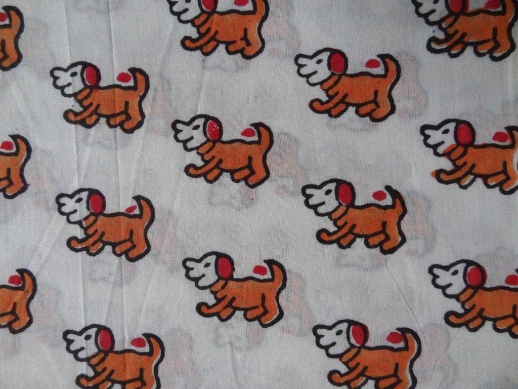 Dog print block print fabric cotton fabric indian fabric for Kids apparel fabric
