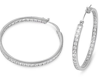 New 925 Sterling Silver Hoop Inner and Outer CZ Earrings