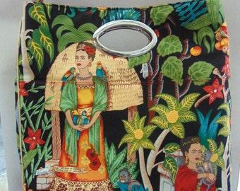 Window Shopper Tote, Frida's Garden, Huge Shoulder Bag, Retro Style, Quirky Shopper, Kahlo, fabric, shopper, kitsch, Alexander Henry, Mrs H