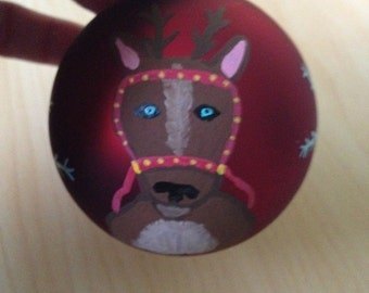 Hand Painted Red Glass Ornament ( Reindeer & Snowflake)