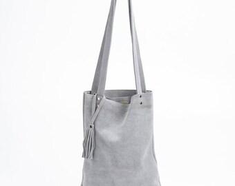 Tote bag, Soft leather bag, Grey Shoulder Bag, Casual Bag, New Collection!