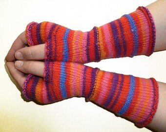 Striped Fingerless Gloves Arm Warmers Wrists Warmers Fingerless Mittens Womens Gloves Knit Wool Girls Fingerless Gloves