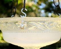 Hanging bird feeder - glass bird bath - hanging glass birdfeeder