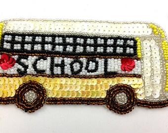"""School Bus Appliqué, Sequin Beaded, 5"""" x 2.5""""  -2978"""