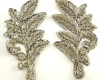 "Leaf Pair with Silver Bullion Thread and Sequins, 3.5"" x 2.5"" 0464-1375B&C"
