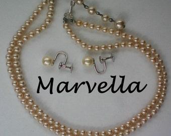 Marvella Sterling Faux Pearl Necklace & Earrings Set - 4584