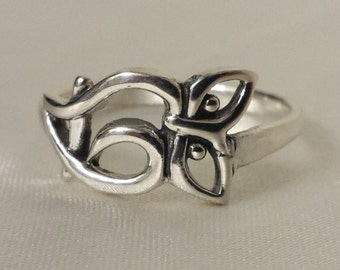 Sterling Silver Owl Ring, 925 silver band owl ring