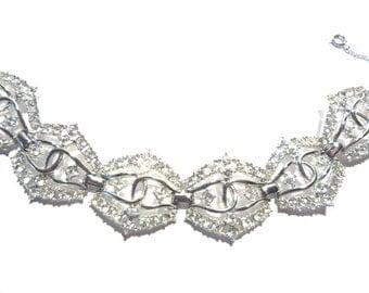 Signed Emmons Rhinestone Bracelet Vintage Bridal Wedding Jewelry
