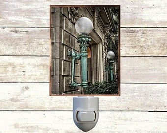 "Night Light, "" Yorkville"",  New York City Historic Architecture,  Handmade, Copper Foiled"