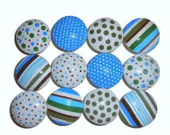 12 Custom Dots & Stripes Hand Painted Drawer Pulls Knobs