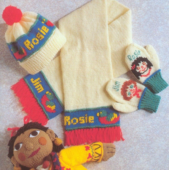 Knitting Pattern For Toy Boat : Vintage Knitting Pattern PDF Toys Rosie and Jim Dolls Mini Dolls Barge Boat S...