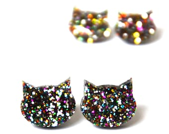 Cat Earrings · Rainbow Glitter Cat Earrings · Glitter Cat Earring · 2 sizes