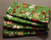 Set of 4 Christmas Cotton Table Napkins