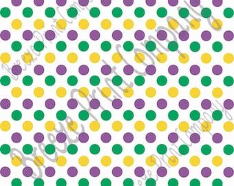 Purple, green and yellow dot pattern craft  vinyl sheet - HTV or Adhesive Vinyl -  medium polka dots Mardi Gras colors HTV1630