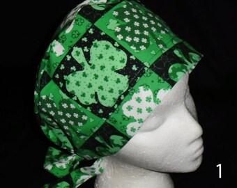 St. Patrick's Day Nurses Surgical Scrubs Scrub Caps Ladies Pixie Cap Hat Surgery Hats Shamrocks Lots Of Green Holiday Scrubs Caps  Hats