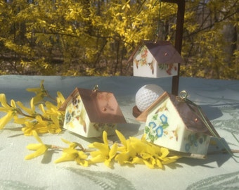 Perfect for Easter Baskets!  Copper Roofed Birdhouse Ornaments, Hummingbird Collection, Set of 3