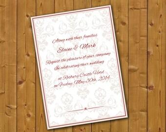 Wedding invitation. Printable. Classic Regency style.