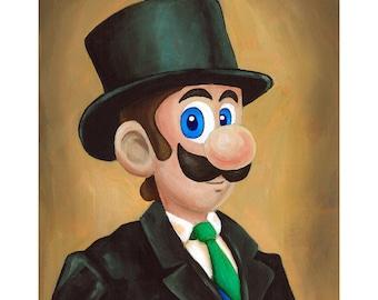 Dapper Luigi - Nintendo Super Mario Bros Painting - Fancy Top Hat and Tie Geek Parody - Video Game Art - Gift for Gamer Katie Clark Art