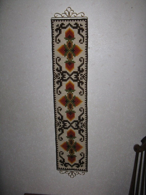 Vintage Needlepoint Bell Pull Long Wall Decor