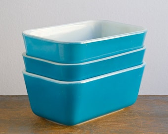 Set of Three Blue Pyrex 502 Refrigerator Dishes