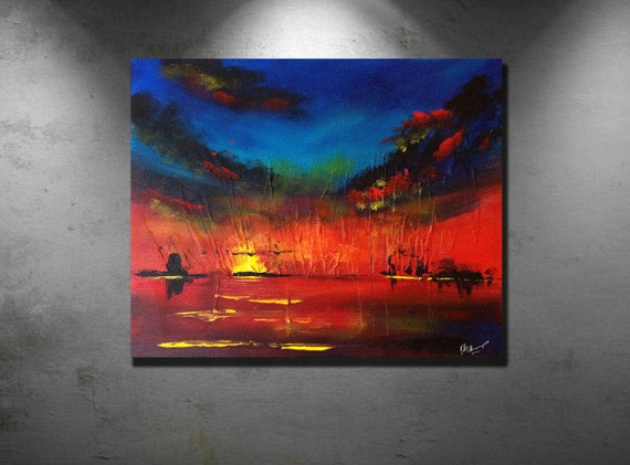 "Title "" Red Sky "" Original landscape painting. FREE Domestic Shipping"